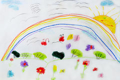 Childish drawing of funny flowers and rainbow Stock Photos