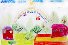 Childish drawing of funny house flowers and rainbow Stock Images