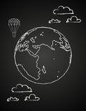 Childish drawing of a globe in chalck. Vector illustration of childish drawing of a globe in clouds on chalkboard. Concept image of global market, ecology, green Royalty Free Stock Photo