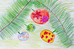 Childish drawing of green branches of fir-tree and Christmas-tree decorations. Childish drawing of green branches of fir-tree with round Christmas-tree Stock Photos