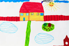 Childish drawing of house pools and flower bed Stock Photo