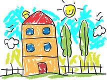 Childish drawing landscape Stock Photography