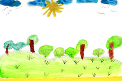 Childish drawing of summer with trees and bush Royalty Free Stock Image