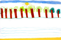 Childish drawing with trees standing in row Royalty Free Stock Photos