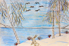 Childish drawing of winter hare on the river bank Stock Image