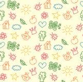Childish drawings seamless vector pattern stock illustration