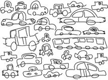 Childish drawn cars Stock Photos