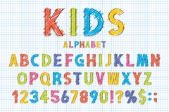 Childish font and alphabet in school style. Pencil scribbles stylized in english alphabet with numbers. Cute font for children. Vector royalty free illustration