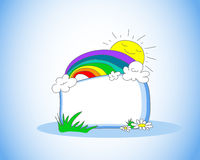 Childish frame. Cute doodle with rainbow, clouds and a smiling sun Stock Image