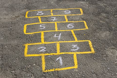 Childish game hopscotch on asphalt Stock Photo