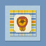 Childish greeting card with  lion Royalty Free Stock Image