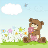 Childish greeting card with teddy bear and his toy Royalty Free Stock Images