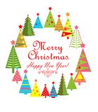 Childish greeting card for winter holiday with paper colorful firs Royalty Free Stock Images