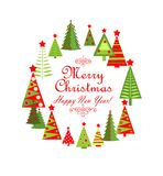 Childish greeting card for winter holiday with paper colorful firs Stock Photo