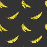 Childish Hand Drawn Banana Seamless Pattern on Gray Background Stock Photo