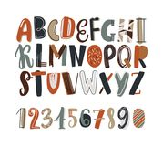 Childish hand drawn latin font or english alphabet decorated with scribble or scrawl. Colored letters arranged in. Alphabetical order and numbers isolated on Royalty Free Stock Photography