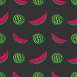 Childish Hand Drawn Watermelon Seamless Pattern on Gray Background Stock Photo