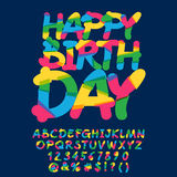Childish Happy birthday greeting card. Vector set of colorful letters, numbers and symbols Royalty Free Stock Photography