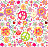 Childish hippie wallpaper. Childish wallpaper with hippie symbolic Stock Images