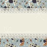 Childish horizontal lace frame with decorative ladybugs Stock Photography