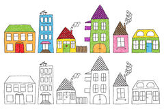 Childish houses drawing. Set of naive childish drawing of different houses, colored imperfectly or not colored at all stock illustration