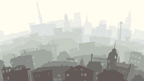 Childish illustration of big city in sunset. Royalty Free Stock Photos
