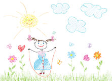 Childish joy. Childlike drawing of a girl, flowers and hearts Stock Photography