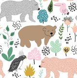 Childish jungle texture with bears , bird and jungle elements. seamless pattern vector illustration stock images