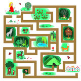 Childish labyrinth with girl that should find the right way to the home. Forest path labyrinth. Childish labyrinth with girl that should find the right way to Stock Images