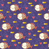 Childish marine seamless pattern with fish and corals. Cartoon seamless pattern for lovely childish designs in Stock Photos