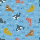 Childish nautical pattern. Cute drawing of animals. Arctic wildlife. Vector illustration stock images