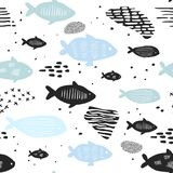 Childish Nautical Seamless Patterns with Cute Fish. Underwater Creatures Background for Fabric, Wallpaper Wrapping Paper. Childish Nautical Seamless Patterns Stock Image