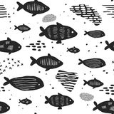 Childish Nautical Seamless Patterns with Cute Fish. Underwater Creatures Background for Fabric, Wallpaper Wrapping Paper. Childish Nautical Seamless Patterns Stock Photography