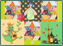 Childish patchwork pattern with fairy dragon, princess and cute house. Royalty Free Stock Photos
