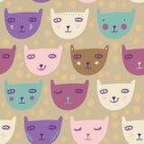 Childish pattern. Childish cute pattern - smiling cats Royalty Free Stock Photo