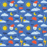 Childish pattern with cute smiley weather icons Stock Photo