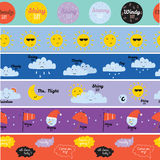 Childish pattern with cute smiley weather icons Stock Images