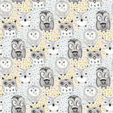 Childish pattern with funny owl. Doodle hand drawn seamless   cute birds. Vector background for textile print or Royalty Free Stock Photo