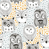 Childish pattern with funny owl. Fashion seamless background. Royalty Free Stock Photo