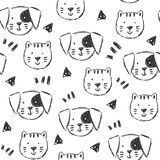 Childish pattern with hand drawn dogs and cats royalty free illustration