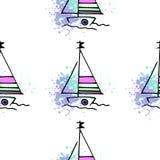 Childish pattern yachts silhouette on wave. stock illustration