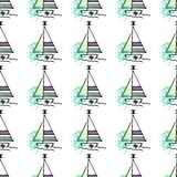 Childish pattern yachts silhouette on wave. stock illustration