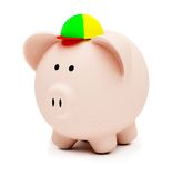 Childish piggybank isolated Stock Photo