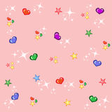 Childish pink background with stars and hearts. Pink shiny princess background with colourful stars and hearts Royalty Free Stock Photo