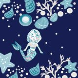 Childish print. Cute mermaid, seashells, marine animals. Background for fabric print, texture and wrapping paper. Hand drawn sea vector illustration Royalty Free Stock Image