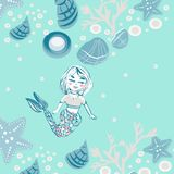 Childish print. Cute mermaid, seashells, marine animals. Background for fabric print, texture and wrapping paper. Hand drawn sea vector illustration Royalty Free Stock Photos