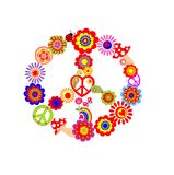 Childish print with peace flower symbol Stock Images