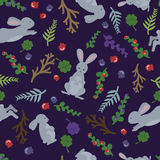 Childish rabbits and flowers. Cute seamless pattern in cartoon style. Can be used for wallpapers, fills, web page. Dark cute pattern with rabbits. Forest Royalty Free Stock Photos
