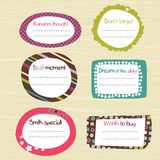 Childish scrapbook labels. Doodle frames stock illustration