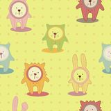 Childish seamless background with animals Royalty Free Stock Photography